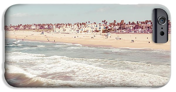 Pacific Ocean Prints iPhone Cases - Huntington Beach Retro Panorama Photo iPhone Case by Paul Velgos