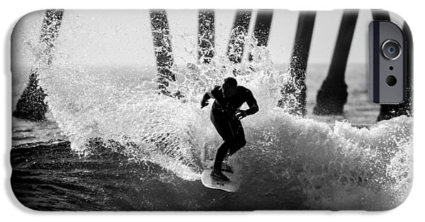 Slash iPhone Cases - Huntington beach Surfer 2 iPhone Case by Pierre Leclerc Photography