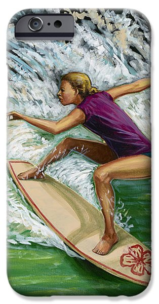 Malibu Paintings iPhone Cases - Huntington Beach Surfer Girl iPhone Case by MJ Greene