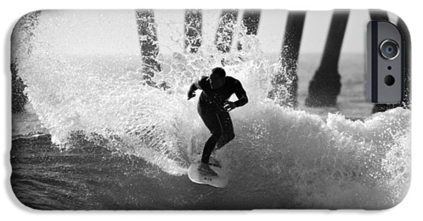 Slash iPhone Cases - Huntington beach Surfer iPhone Case by Pierre Leclerc Photography