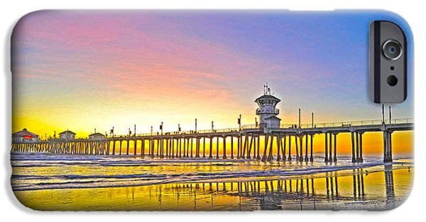 Unset iPhone Cases - Huntington Pier Sunset iPhone Case by Richard Brooks