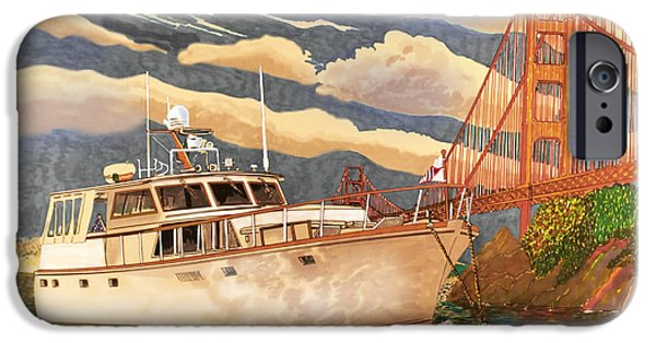 Sausalito Paintings iPhone Cases - Sausalitos Hurricane Gulch Anchorage iPhone Case by Jack Pumphrey