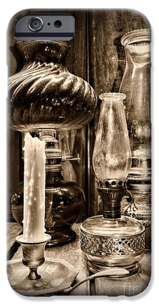 Hurricane Lamp iPhone Cases - Hurricane Lamb Collection in black and white iPhone Case by Paul Ward