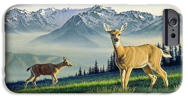 National Park Paintings iPhone Cases - Hurricane Ridge-Blacktails iPhone Case by Paul Krapf