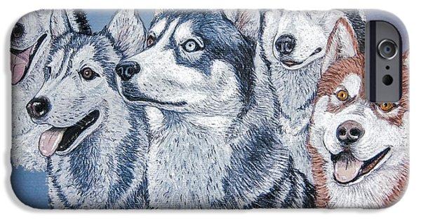 Huskies Photographs iPhone Cases - Huskies by J. Belter Garfunkel iPhone Case by Sheldon Kralstein