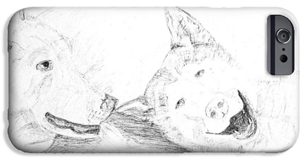 Husky Drawings iPhone Cases - Huskies having a lazy day iPhone Case by Adam Wardle