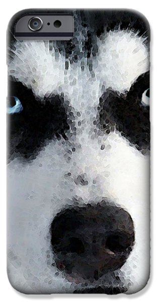Huskies Digital Art iPhone Cases - Husky Dog Art - Bat Man iPhone Case by Sharon Cummings