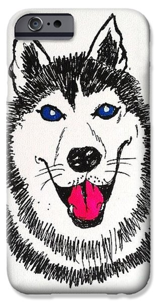 Husky Drawings iPhone Cases - Husky Dog iPhone Case by Esther Rowden