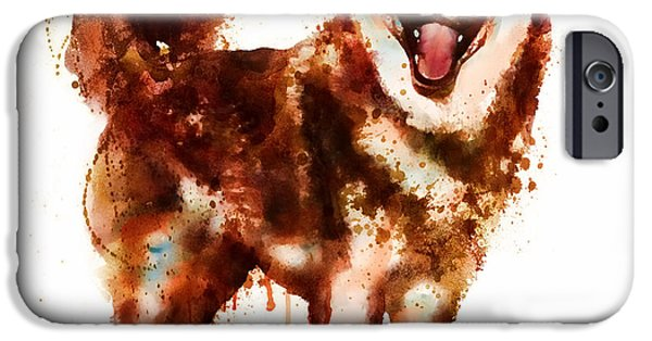 Huskies Digital Art iPhone Cases - Husky Dog watercolor iPhone Case by Marian Voicu