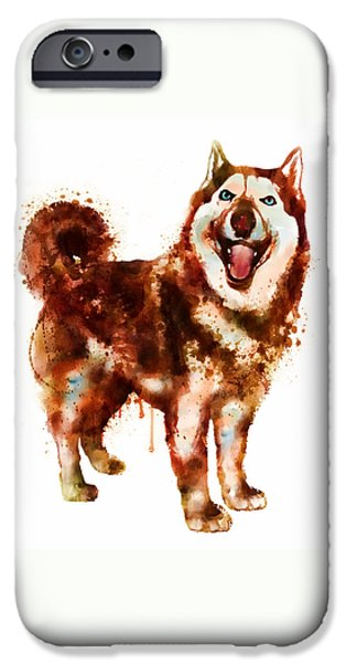 Huskies iPhone Cases - Husky Dog watercolor iPhone Case by Marian Voicu