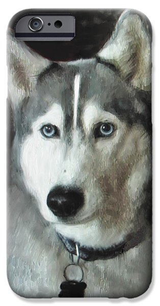 Huskies Digital Art iPhone Cases - Husky iPhone Case by L J Oakes
