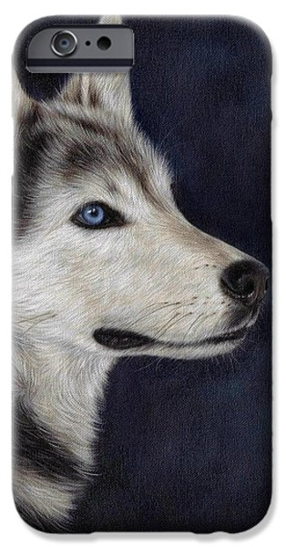 Husky iPhone Cases - Husky Portrait Painting iPhone Case by Rachel Stribbling