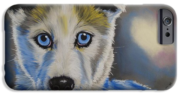 Huskies Pastels iPhone Cases - Husky Puppy iPhone Case by Kevin Hubbard