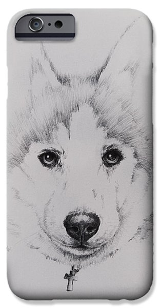 Husky Drawings iPhone Cases - Husky iPhone Case by Rachel Christine Nowicki