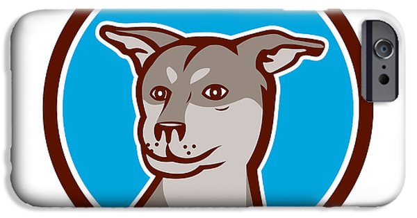 Huskies Digital Art iPhone Cases - Husky Shar Pei Cross Dog Head Cartoon iPhone Case by Aloysius Patrimonio