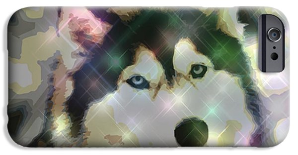 Huskies Digital Art iPhone Cases - Husky Siberiano II iPhone Case by Micaela Pazuello Mica