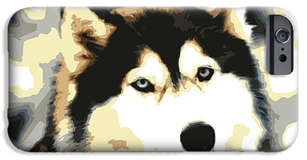 Huskies Digital Art iPhone Cases - Husky Siberiano iPhone Case by Micaela Pazuello Mica