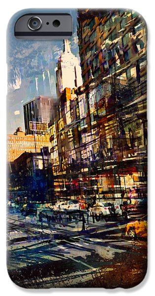 Empire State Mixed Media iPhone Cases - Hustle Bustle iPhone Case by Russell Pierce