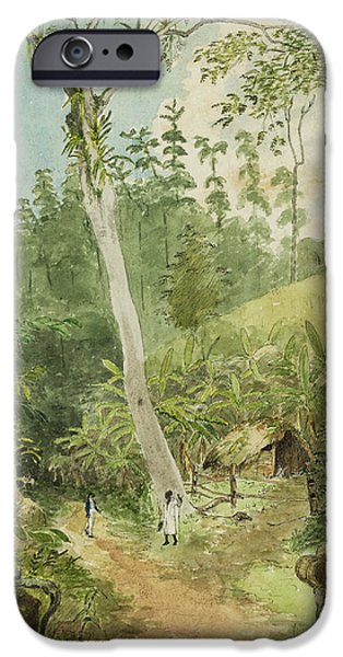 Slaves iPhone Cases - Hut in the jungle circa 1816 iPhone Case by Aged Pixel