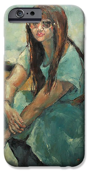 Becky Kim Paintings iPhone Cases - Hwasun in Blue Dress iPhone Case by Becky Kim