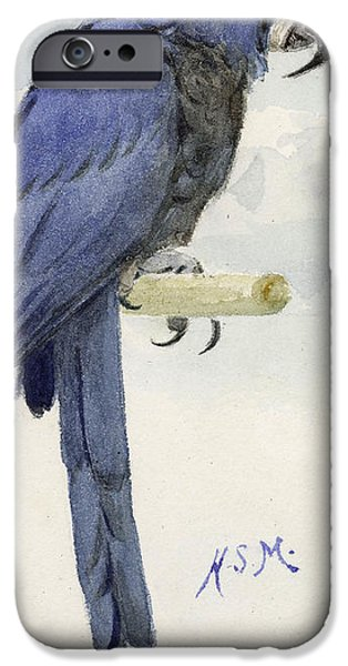 On Paper Paintings iPhone Cases - Hyacinth Macaw iPhone Case by Henry Stacey Marks