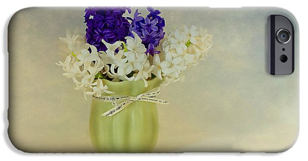 Painter Photo Mixed Media iPhone Cases - Hyacinths iPhone Case by Linda Muir