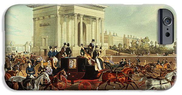Coach iPhone Cases - Hyde Park Corner, After James Pollard, Published By Ackermann, 1836 Aquatint iPhone Case by English School