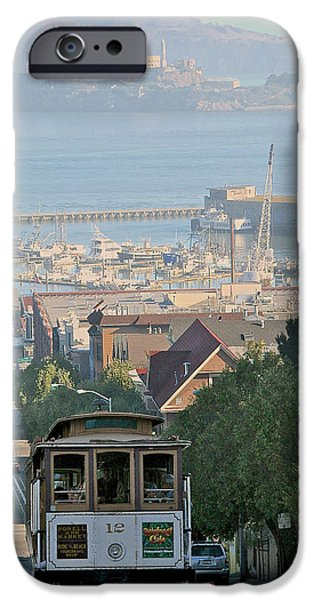 Alcatraz Pyrography iPhone Cases - Hyde St   Hill iPhone Case by DUG Harpster
