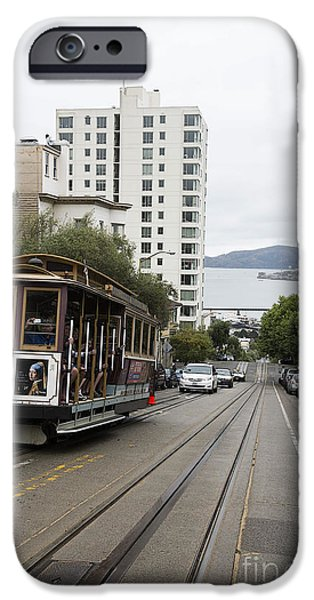 Alcatraz iPhone Cases - Hyde Street Cable Car iPhone Case by David Bearden