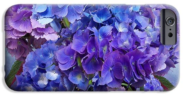 Purple Hydrangeas iPhone Cases - Hydrangea Bouquet - Square iPhone Case by Carol Cavalaris