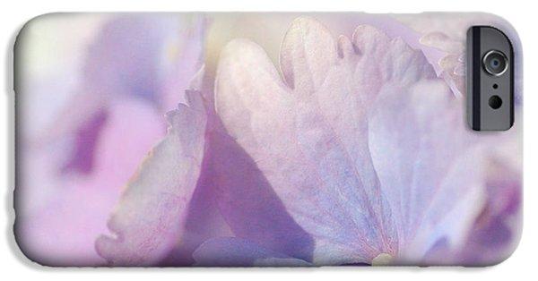 Purple Hydrangeas iPhone Cases - Hydrangea Squared 2 iPhone Case by Fraida Gutovich