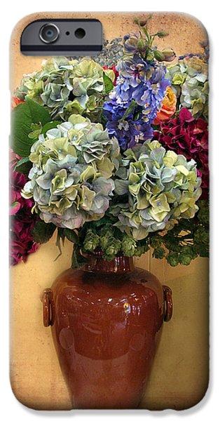 Botanical Digital Art iPhone Cases - Hydrangea Still Life iPhone Case by Jessica Jenney