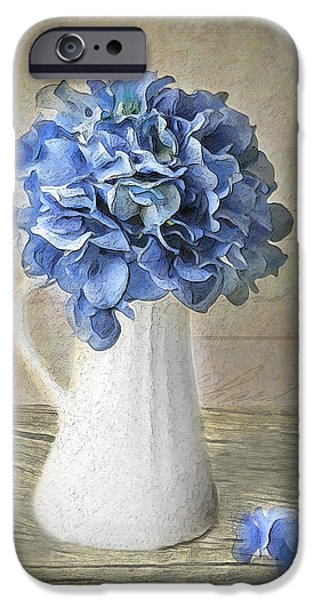 Cape Cod Mixed Media iPhone Cases - Hydrangeas In Vase iPhone Case by Michael Petrizzo