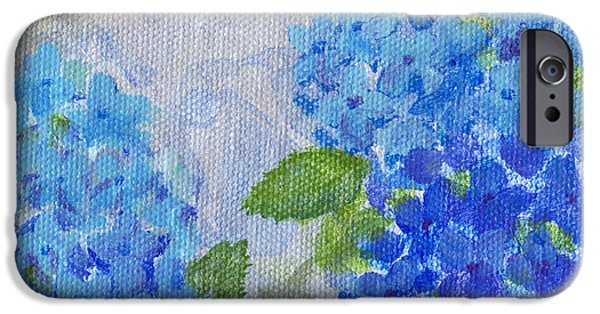 Biology Paintings iPhone Cases - Hydrangeas on a Cloudy Day iPhone Case by Arlissa Vaughn