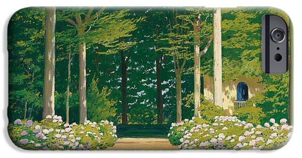 Garden iPhone Cases - Hydrangeas on a Garden Path iPhone Case by Santiago Rusinol i Prats