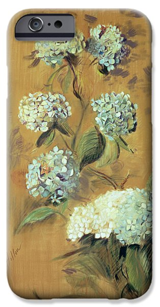 Nature Study Drawings iPhone Cases - Hydrangeas iPhone Case by Paul Cesar Helleu