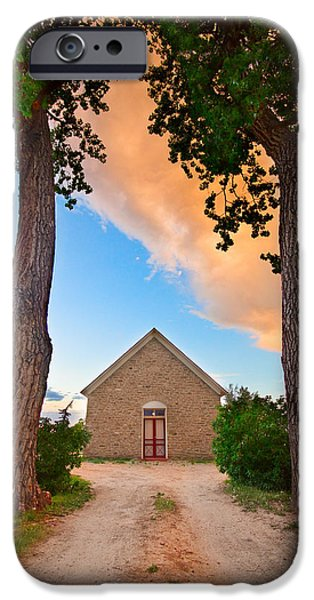 Corporate Art Photographs iPhone Cases - Hygiene Colorado Church of the Brethren 1880 Sunset iPhone Case by James BO  Insogna