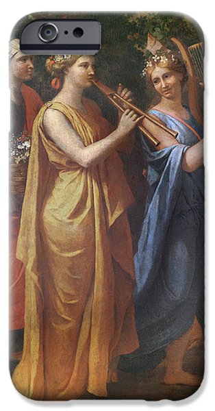 Playing Musical Instruments iPhone Cases - Hymenaios Disguised As A Woman During An Offering To Priapus, Detail Of The Musicians, C.1634-38 iPhone Case by Nicolas Poussin