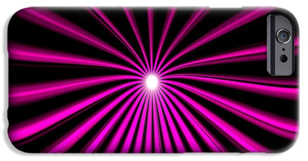 Science Fiction Drawings iPhone Cases - Hyperspace Violet Square iPhone Case by Pet Serrano