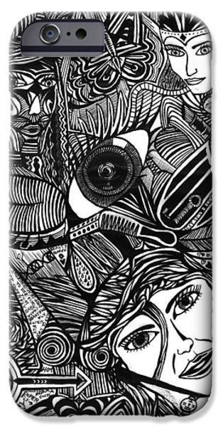 Abstract Collage Drawings iPhone Cases - Hypnotizing Beauty Queens iPhone Case by Jesse Colton