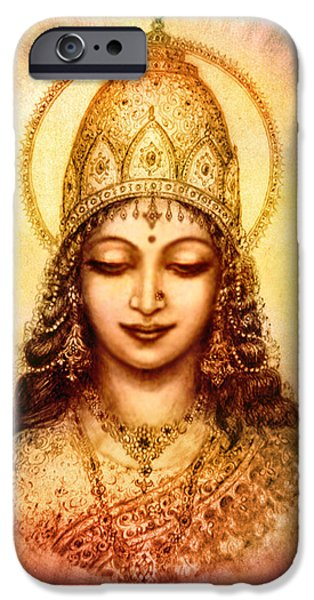 Hindu Goddess iPhone Cases - I abide in my own Blissful Self iPhone Case by Ananda Vdovic
