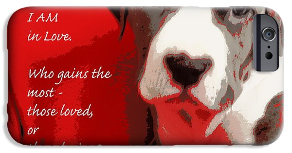 Puppy Love Framed Prints iPhone Cases - I Am in Love iPhone Case by Bobbee Rickard