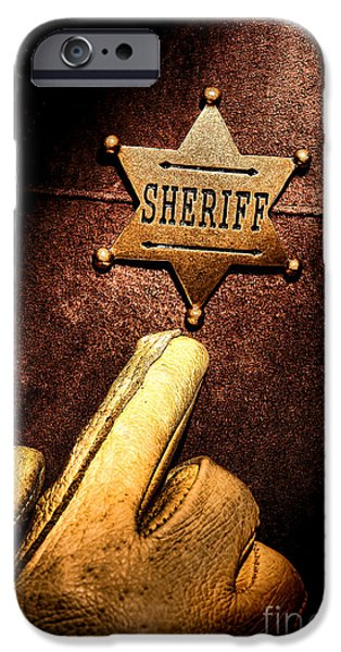 Sheriff iPhone Cases - I AM the Law iPhone Case by Olivier Le Queinec