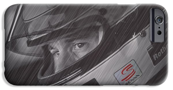 Ayrton Senna iPhone Cases - I cannot quit I have to go on iPhone Case by Stephane Trahan