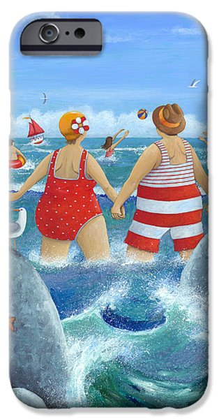Bathing iPhone Cases - I Do Like To Be Beside The Seaside iPhone Case by Peter Adderley