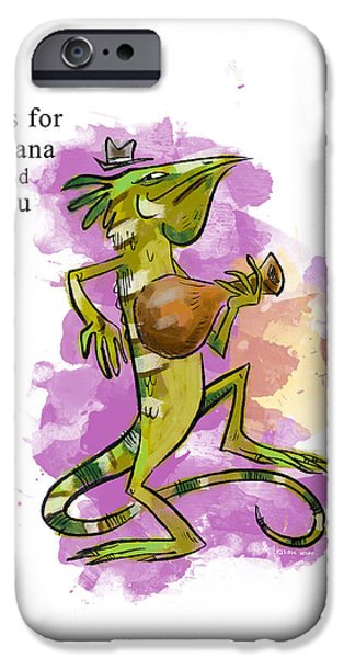 Iguana iPhone Cases - I is for Iguana iPhone Case by Sean Hagan