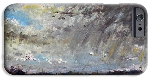 Storm Paintings iPhone Cases - I just Beat the Rain iPhone Case by Ylli Haruni