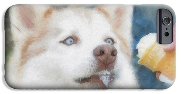 Huskies iPhone Cases - I Just Loooove Ice Cream iPhone Case by Kenny Francis