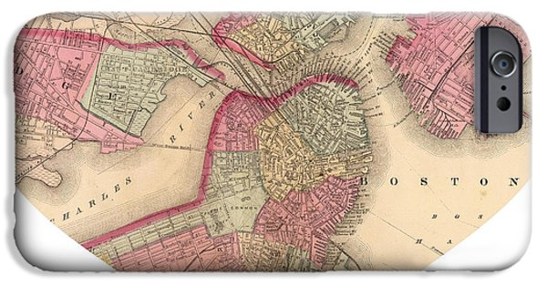 Boston Ma iPhone Cases - I Love Boston Heart Map iPhone Case by Nomad Art And  Design