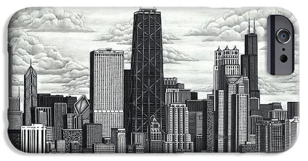 Willis Tower Drawings iPhone Cases - I Love Chicago iPhone Case by Omoro Rahim